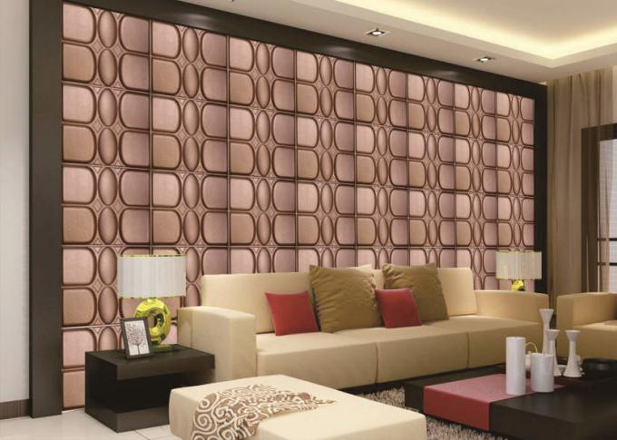 PVC 3D Leather Wall Panels For Interior Wall Decoration 400*400 Mm